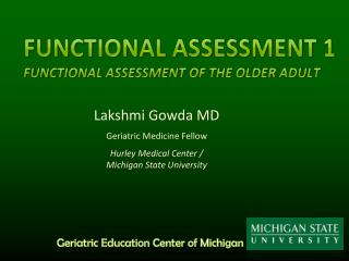 Functional Assessment 1 Functional Assessment of the Older Adult