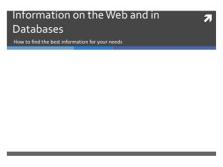 Information on the Web and in Databases