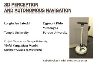 3D perception  and autonomous navigation