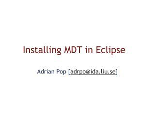 Installing MDT in Eclipse