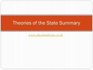 Theories of the State Summary