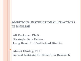 Ambitious Instructional Practices in  English