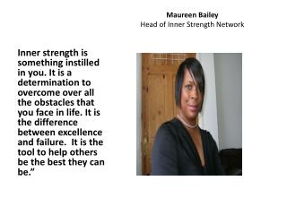 Maureen Bailey Head of Inner Strength  Network