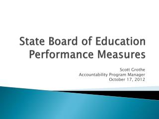 State Board of Education Performance Measures