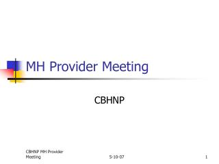 MH Provider Meeting
