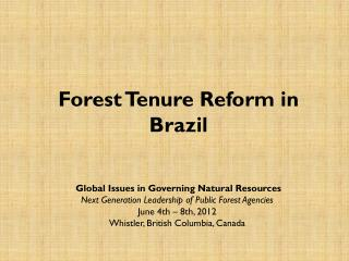 Forest  Tenure  Reform  in  Brazil