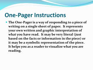 One-Pager Instructions
