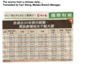 The source from a  chinese  daily….  Translated by Carl Wong, Melaka Branch Manager.