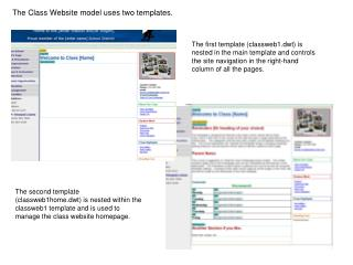 The Class Website model uses two templates.