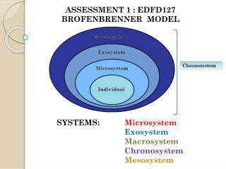 ASSESSMENT 1 : EDFD127 BROFENBRENNER  MODEL SYSTEMS:  Microsystem  Exosystem  Macrosystem