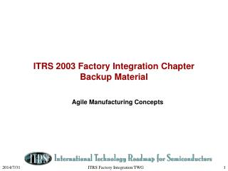 ITRS 2003 Factory Integration Chapter  Backup Material