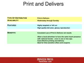 Print and Delivers
