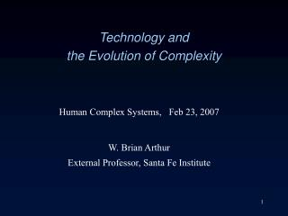 Technology and  the Evolution of Complexity