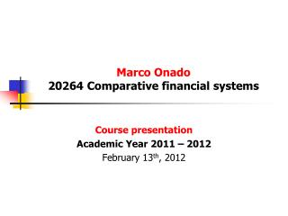 Marco Onado 20264 Comparative financial systems
