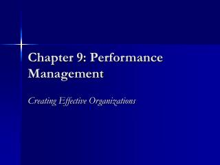 Chapter 9: Performance Management