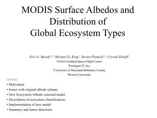 MODIS Surface Albedos and Distribution of  Global Ecosystem Types