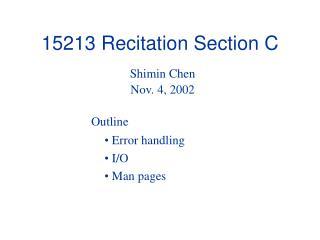 15213 Recitation Section C