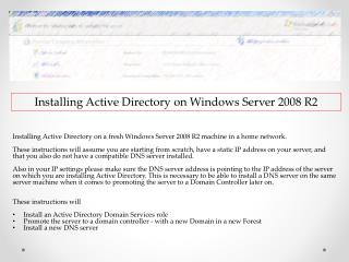 Installing Active Directory  on Windows  Server 2008 R2