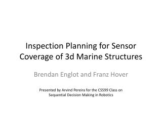 Inspection Planning for Sensor Coverage of 3d Marine Structures
