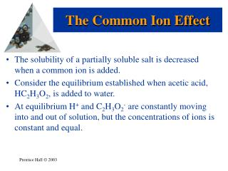 The solubility of a partially soluble salt is decreased when a common ion is added.