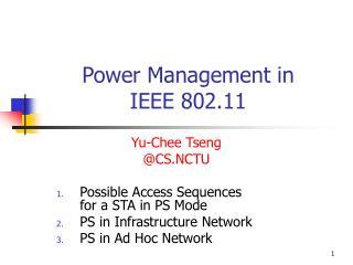 Power Management in  IEEE 802.11
