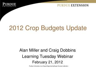 2012 Crop Budgets Update