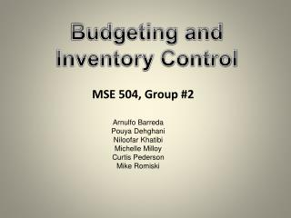 Budgeting and Inventory Control
