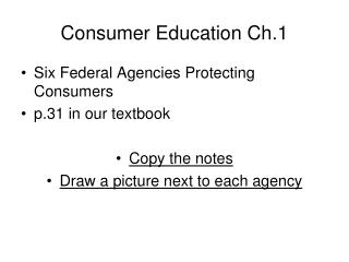 Consumer Education Ch.1