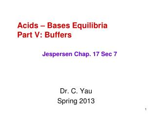 Acids – Bases Equilibria Part V: Buffers