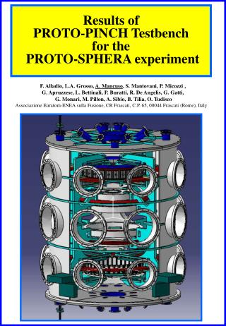 Results of   PROTO-PINCH Testbench  for the  PROTO-SPHERA experiment