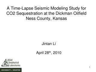 A Time-Lapse Seismic Modeling Study for CO2 Sequestration at the Dickman Oilfield Ness County, Kansas