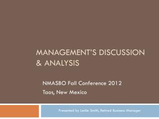 Management's Discussion & Analysis