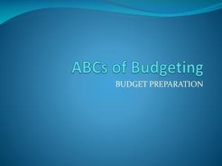 ABCs of Budgeting