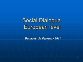 Social  Dialogue  European level Budapest 21  February  2011