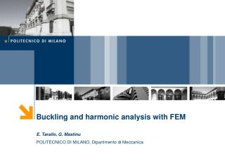 Buckling and harmonic analysis with FEM E. Tarallo, G. Mastinu