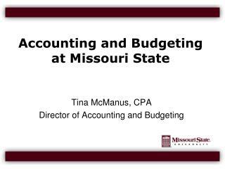 Accounting and Budgeting at Missouri State