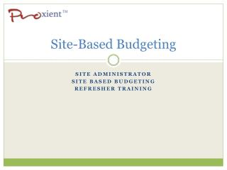 Site-Based Budgeting