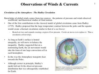 Observations of Winds  Currents