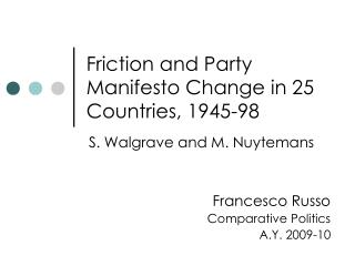 Friction and Party Manifesto Change in 25 Countries, 1945-98