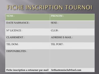 FICHE INSCRIPTION TOURNOI