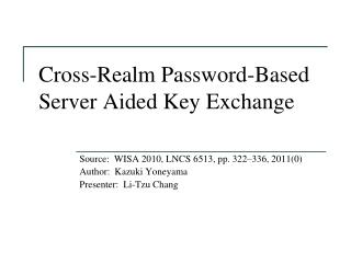 Cross-Realm Password-Based Server Aided Key Exchange
