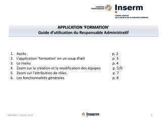 APPLICATION 'formation' Guide d'utilisation  du  Responsable Administratif