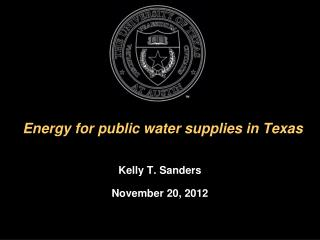 Energy for public water supplies in Texas