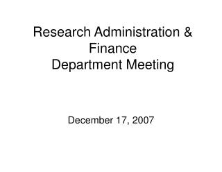 Research Administration & Finance Department Meeting