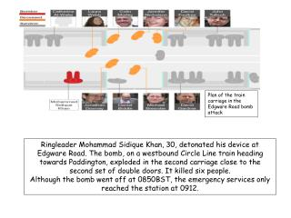 Plan of the train carriage in the  Edgware Road bomb attack