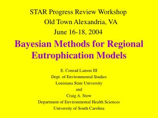 Bayesian Methods for Regional Eutrophication Models