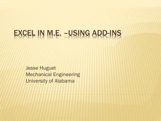 Excel  in M.E. –Using add-ins