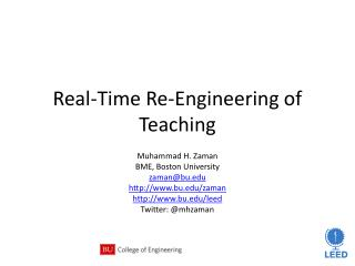 Real-Time Re-Engineering of Teaching