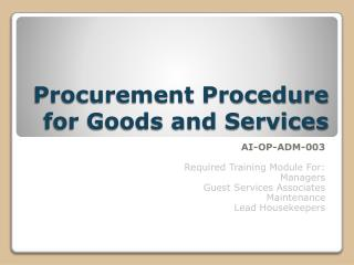 Procurement Procedure for Goods and Services