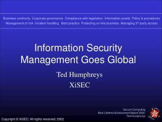 Information Security Management Goes Global